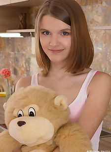 xxx pics Slender teen puts down plush toy, ass , panties