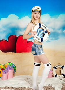 xxx pics Sweet teen Lulya removes striped over, ass , blonde