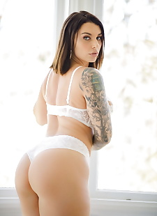 xxx pics Solo model with a tattoo sleeve, ass , lingerie