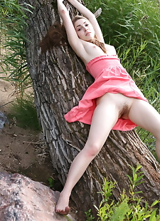 xxx pics Long haired chick Mila H flashes her, outdoor , hairy