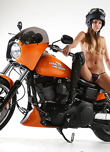 xxx pics Tiny titted biker babe Clover poses, ass , panties